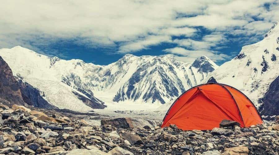 Red Tent in High Latitude Mountain Terrain