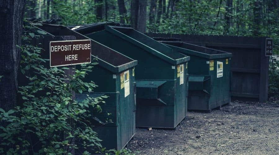 Trash Bins in Forest
