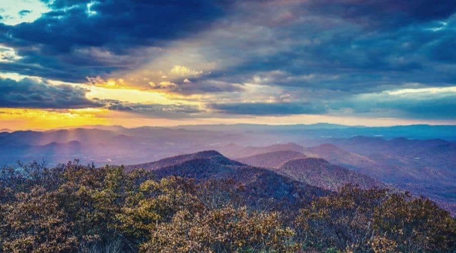 Autumn Sunset in Blue Ridge Mountains