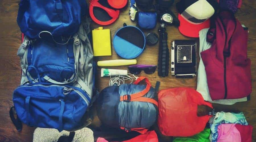 backpacking gear laid out