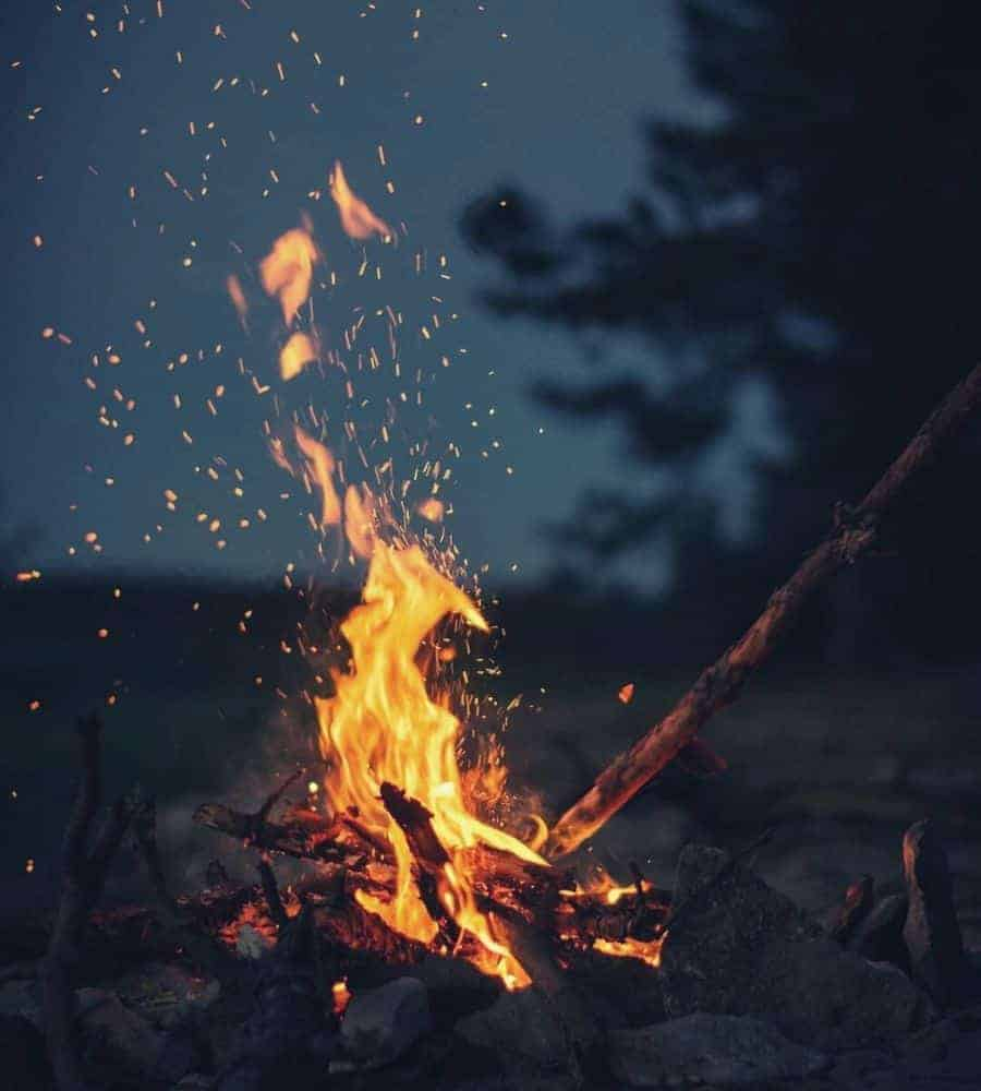 A roaring fire in the darkness