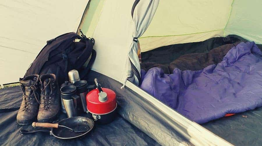 Camping Gear inside tent