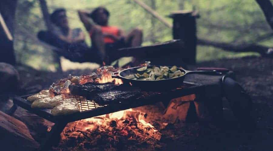 camp food sitting over fire