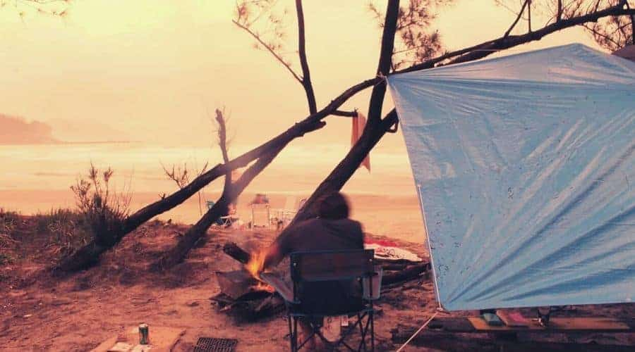 tarp camper shoreline intext