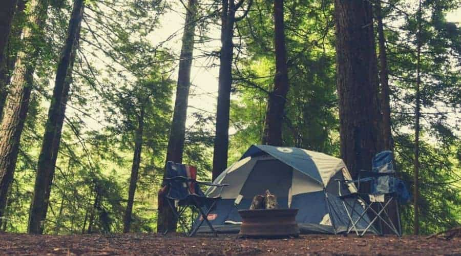 tent in forest intext