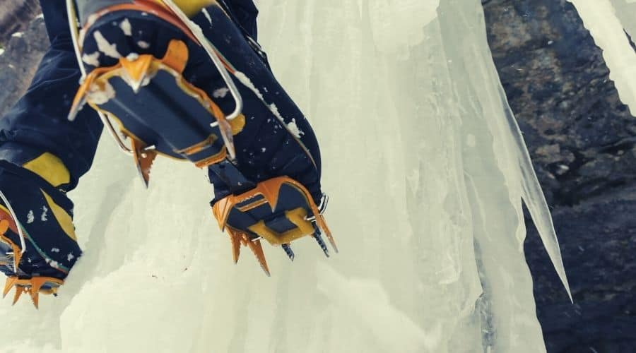 ice climbing with crampons