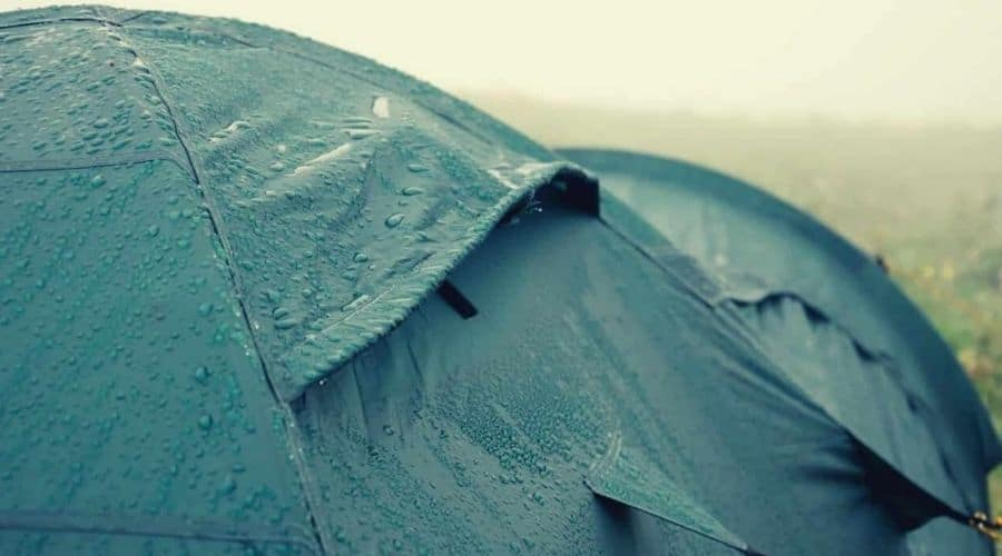 rain rolling off tent in wet weather