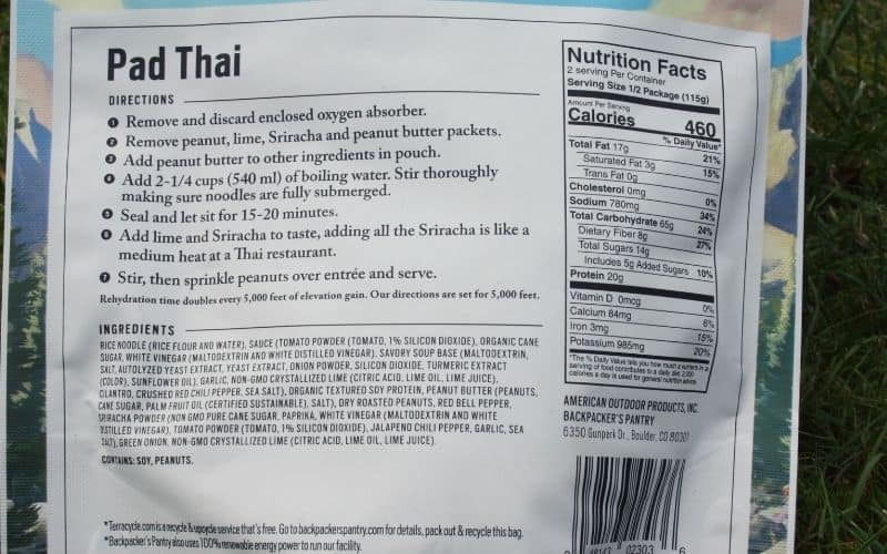 Backpackers Pantry Instructions + Nutritional INfo