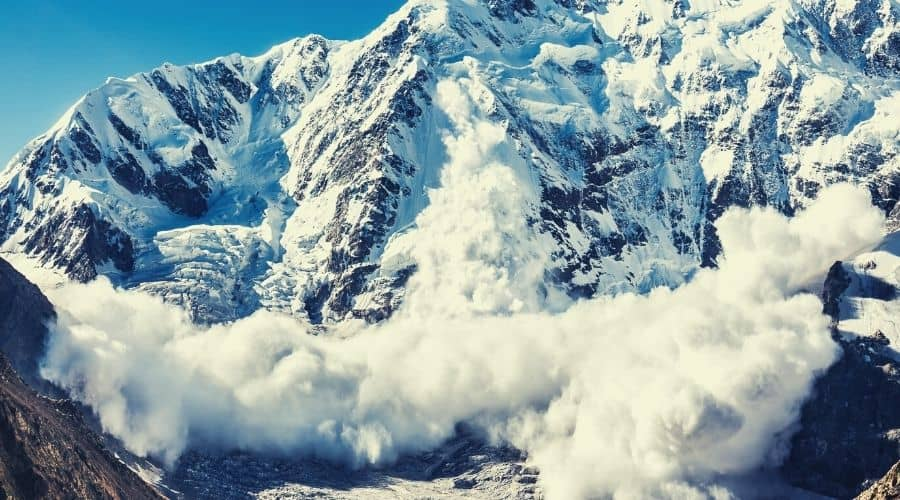 avalanche coming down mountainside