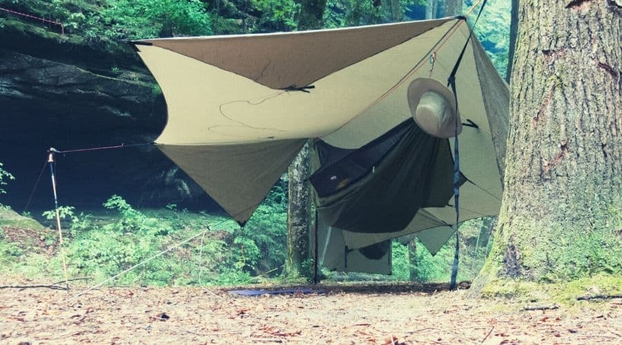 camping hammock with rain fly