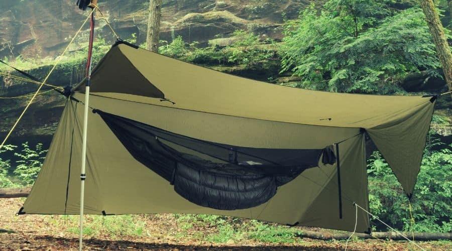 hammock setup with half open tarp hammock bug net underquilt