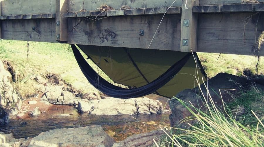 hammock under bridge