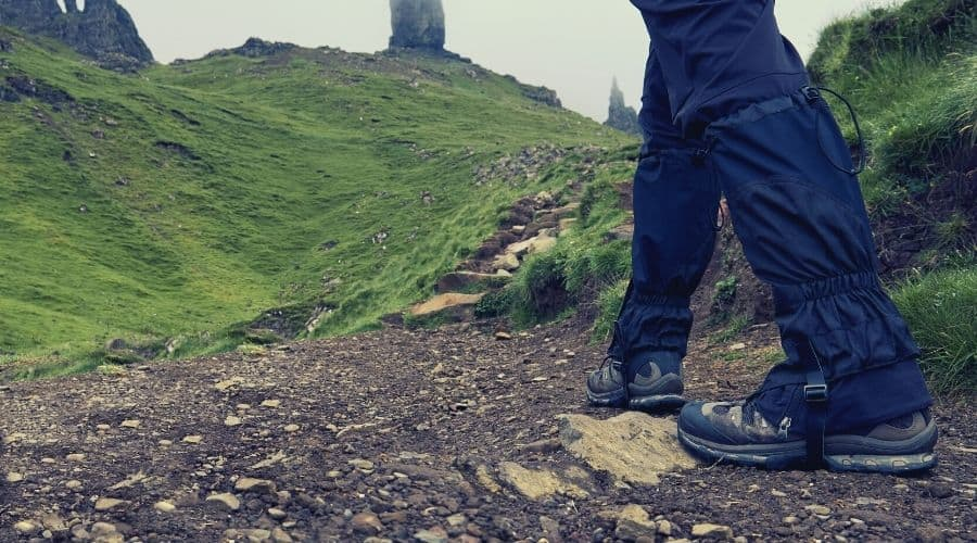 using hiking gaiters on a walk