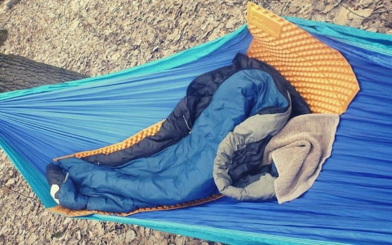 sleep system sleeping pad bag in hammock