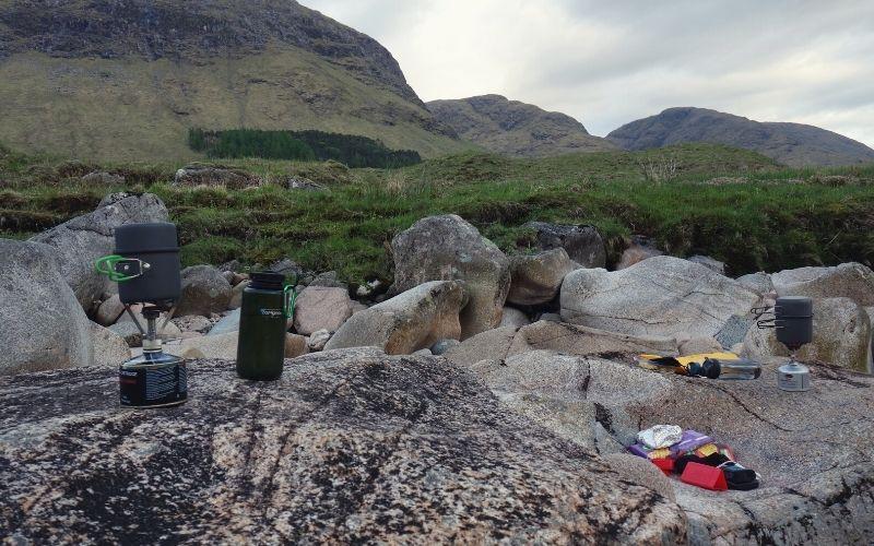 MSR PocketRocket 2 & Soto Amicus backpacking stoves in Scottish Valley