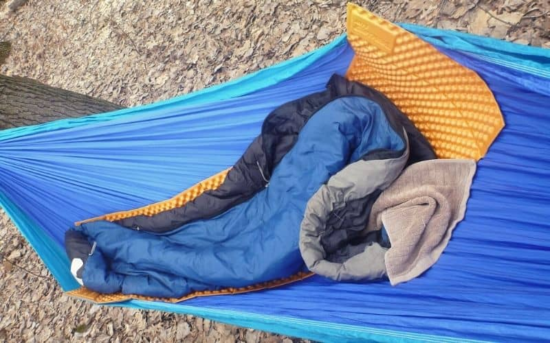 Therm-a-rest Z Lite Sol closed-cell foam pad in a hammock