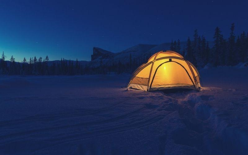 lantern inside tent