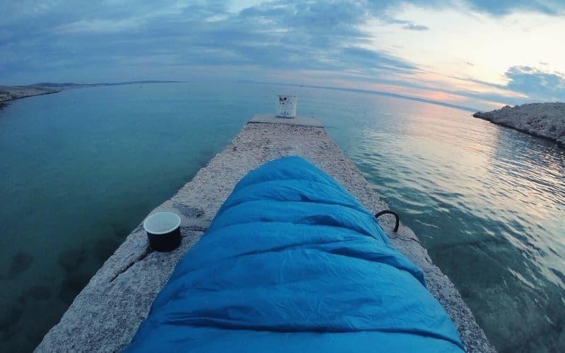 mummy sleeping bag on pier