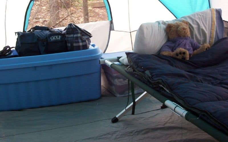 camping cot in tent