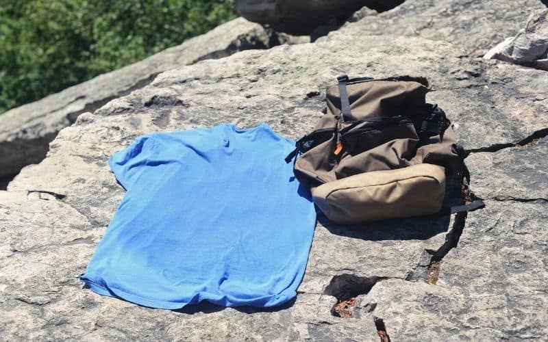 hiking shirt drying out in the sun